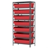 Steel Shelving Kit, 18x36x79, 8 Bins, Gray/Red