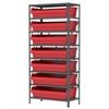 Akro-Mils Steel Shelving Kit, 18x36x79, 8 Bins, Gray/Red