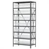 Akro-Mils Steel Shelving Kit, 18x36x79, 8 Bins, Gray/Clear