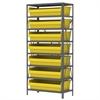 Akro-Mils Steel Shelving Kit, 18x36x79, 8 Bins, Gray/Yellow
