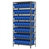 Steel Shelving Kit, 18x36x79, 40 Bins, Gray/Blue