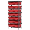 Steel Shelving Kit, 18x36x79, 56 Bins, Gray/Red