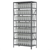 Steel Shelving Kit, 18x36x79, 40 Bins, Gray/Clear