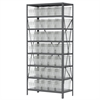 Steel Shelving Kit, 18x36x79, 40 Bins, Gray/Clear
