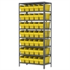 Steel Shelving Kit, 18x36x79, 40 Bins, Gray/Yellow