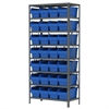Akro-Mils Steel Shelving Kit, 18x36x79, 32 Bins, Gray/Blue
