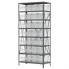 Akro-Mils Steel Shelving Kit, 18x36x79, 32 Bins, Gray/Clear