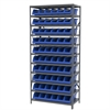 Steel Shelving Kit, 18x36x79, 10 Bins, Gray/Blue