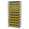 Steel Shelving Kit, 18x36x79, 10 Bins, Gray/Yellow