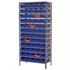 Akro-Mils Steel Shelving Kit, 60 Bins/Orange, Gray/Blue/Orange