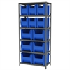 Steel Shelving Kit 18x36x79, 12 Bins, Gray/Blue