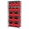 Akro-Mils Steel Shelving Kit 18x36x79, 12 Bins, Gray/Red
