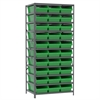 Steel Shelving Kit, 24x36x79, 30 Bins, Gray/Green