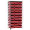 Steel Shelving Kit, 24x36x79, 30 Bins, Gray/Red