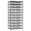 Steel Shelving Kit, 24x36x79, 30 Bins, Gray/Clear