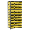 Akro-Mils Steel Shelving Kit, 24x36x79, 30 Bins, Gray/Yellow