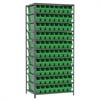 Akro-Mils Steel Shelving Kit, 24x36x79, 80 Bins, Gray/Green