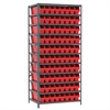 Steel Shelving Kit, 24x36x79, 80 Bins, Gray/Red
