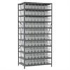 Steel Shelving Kit, 24x36x79, 80 Bins, Gray/Clear