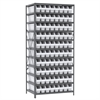 Steel Shelving Kit, 24x36x79, 80 Bins, Gray/White