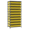Steel Shelving Kit, 24x36x79, 80 Bins, Gray/Yellow