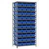 Akro-Mils Steel Shelving Kit, 24x36x79, 42 Bins, Gray/Blue