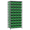 Akro-Mils Steel Shelving Kit, 24x36x79, 42 Bins, Gray/Green