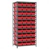 Akro-Mils Steel Shelving Kit, 24x36x79, 42 Bins, Gray/Red