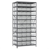 Steel Shelving Kit, 24x36x79, 42 Bins, Gray/Clear