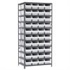 Akro-Mils Steel Shelving Kit, 24x36x79, 42 Bins, Gray/White