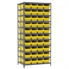 Steel Shelving Kit, 24x36x79, 42 Bins, Gray/Yellow