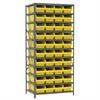 Akro-Mils Steel Shelving Kit, 24x36x79, 42 Bins, Gray/Yellow
