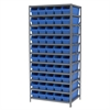 Steel Shelving Kit, 24x36x79, 50 Bins, Gray/Blue