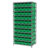 Steel Shelving Kit, 24x36x79, 50 Bins, Gray/Green