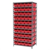 Steel Shelving Kit, 24x36x79, 50 Bins, Gray/Red