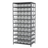 Steel Shelving Kit, 24x36x79, 50 Bins, Gray/Clear