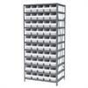 Akro-Mils Steel Shelving Kit, 24x36x79, 50 Bins, Gray/White