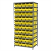 Steel Shelving Kit, 24x36x79, 50 Bins, Gray/Yellow