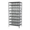 Akro-Mils Steel Shelving Kit, 24x36x79, 32 Bins, Gray/Clear