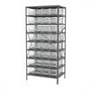 Steel Shelving Kit, 24x36x79, 32 Bins, Gray/Clear