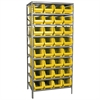 Steel Shelving Kit, 24x36x79, 32 Bins, Gray/Yellow