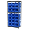 Steel Shelving Kit, 24x36x79, 24 Bins, Gray/Blue