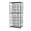 Akro-Mils Steel Shelving Kit, 24x36x79, 24 Bins, Gray/Clear