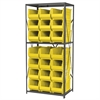 Steel Shelving Kit, 24x36x79, 24 Bins, Gray/Yellow