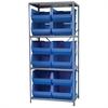 Akro-Mils Steel Shelving Kit, 24x36x79, 12 Bins, Gray/Blue
