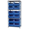 Steel Shelving Kit, 24x36x79, 12 Bins, Gray/Blue