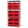 Steel Shelving Kit, 24x36x79, 12 Bins, Gray/Red