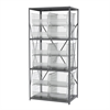 Steel Shelving Kit, 24x36x79, 12 Bins, Gray/Clear