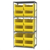 Steel Shelving Kit, 24x36x79, 12 Bins, Gray/Yellow