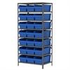Akro-Mils Steel Shelving Kit, 24x36x79, 24 Bins, Gray/Blue
